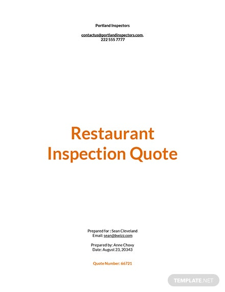 Restaurant Maintenance Quote Template