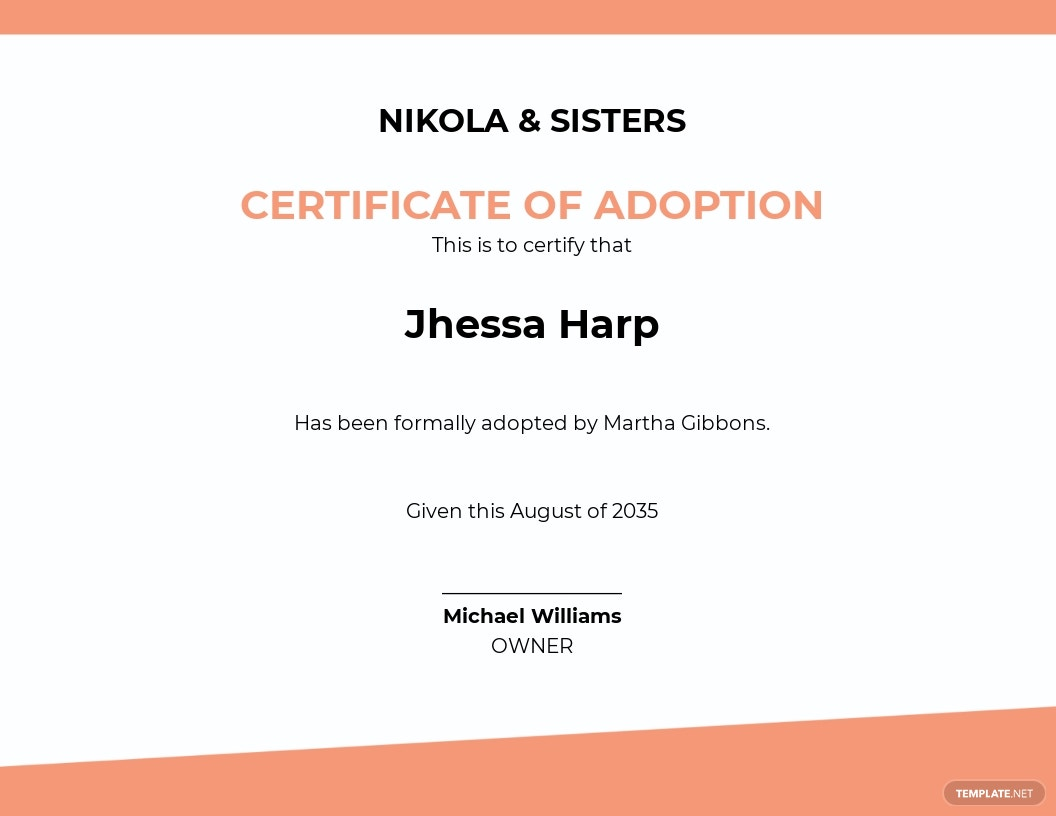 Baby Adoption Certificate Template