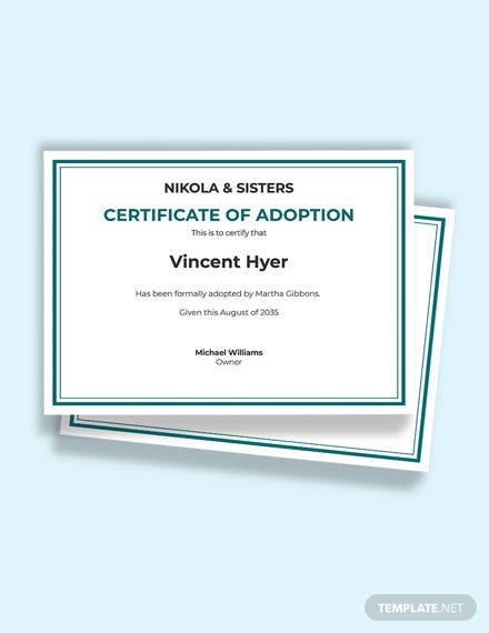 Free Official Adoption Certificate Template