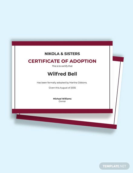 Certificate of Child Adoption Template