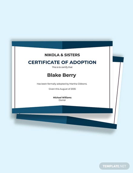 Human Adoption Certificate Template