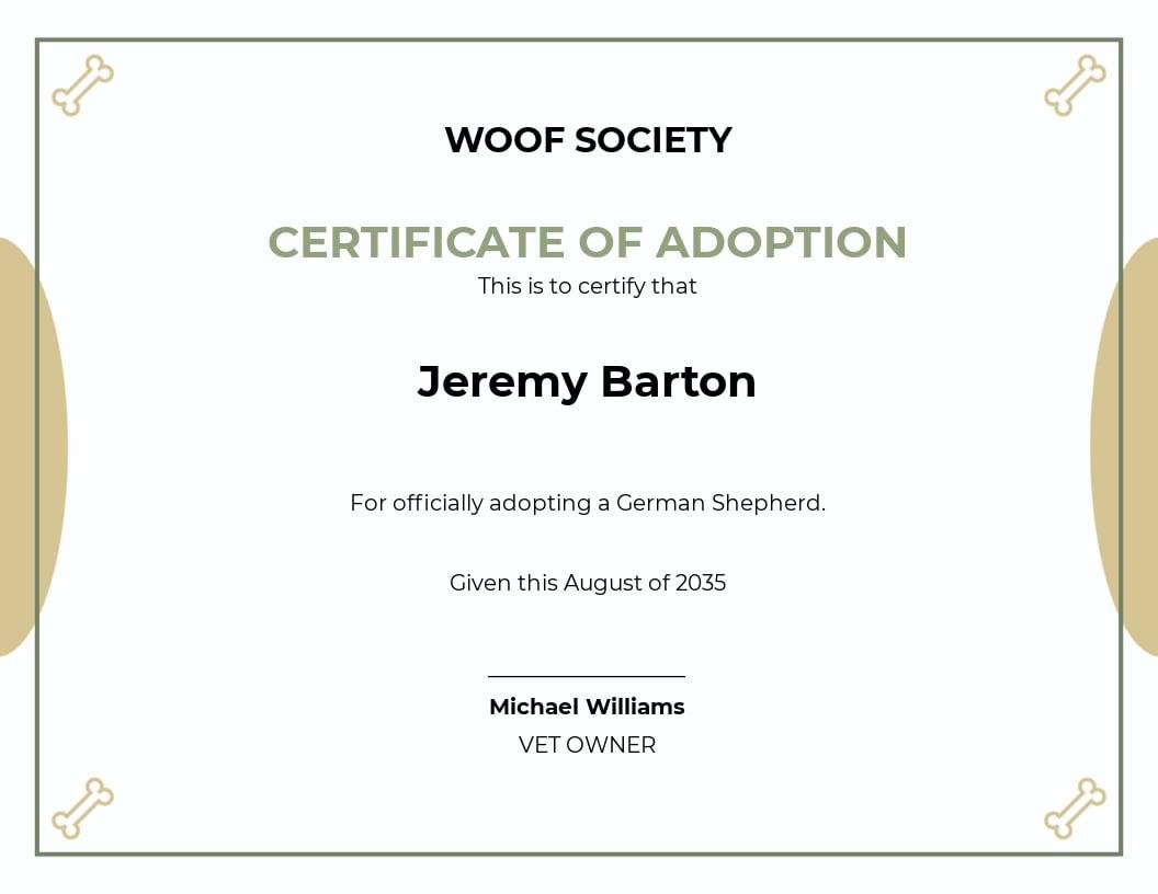 Dog Ownership Certificate Template.jpe