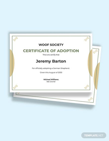 Dog Ownership Certificate Template