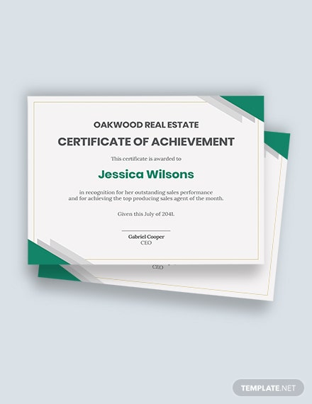 achievement real estate certificate Template
