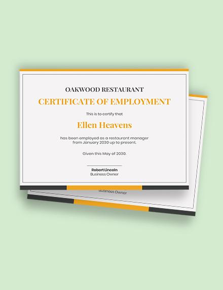 restaurant employment certificate Template