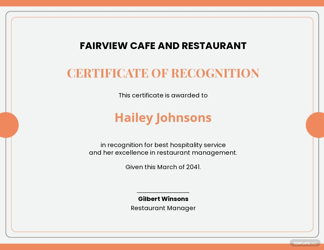 Restaurant Management Certificate Template