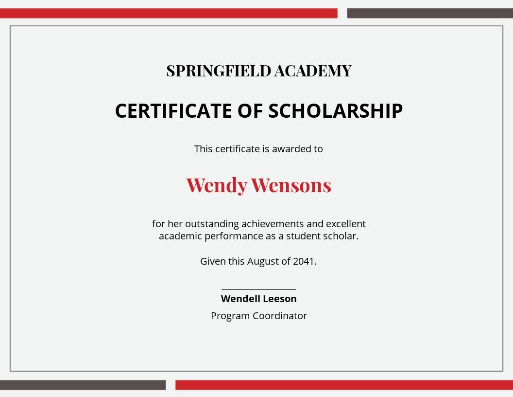 Printable Scholarship Certificate Template.jpe
