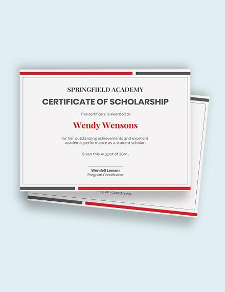 Printable Scholarship Certificate Template