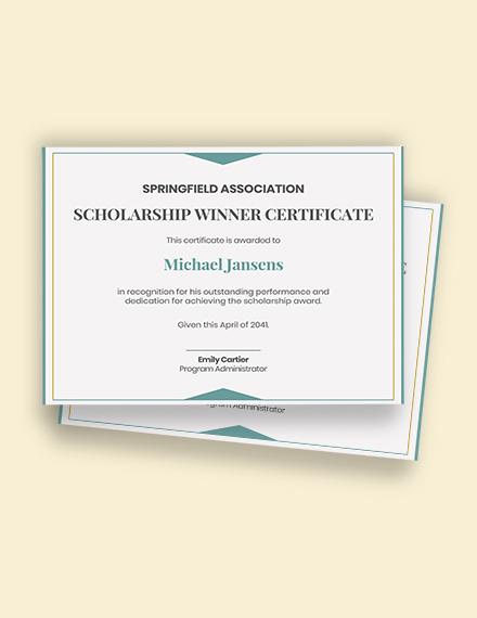Scholarship Winner Certificate Template