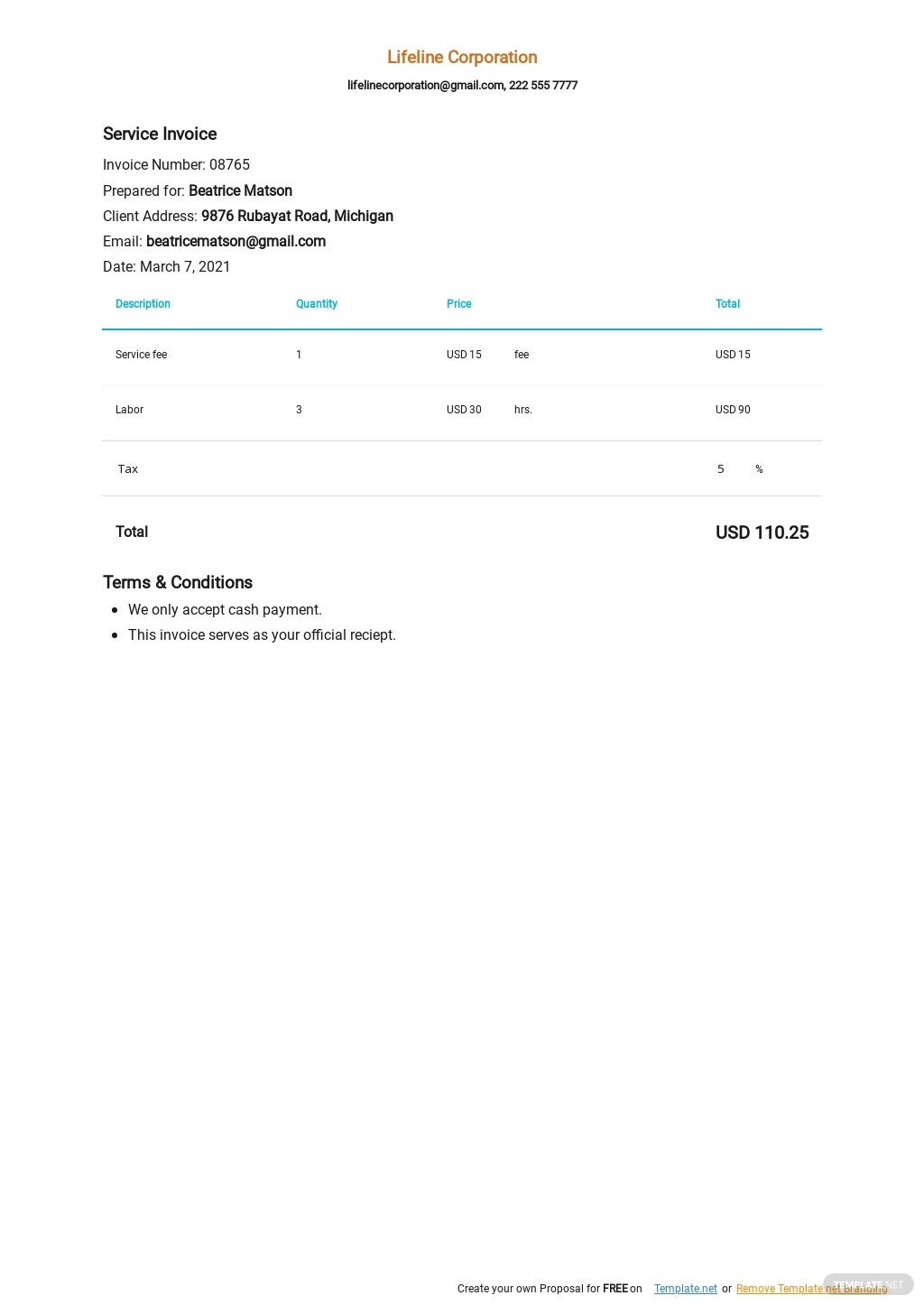 41 Free Service Invoice Templates Edit Download Template Net