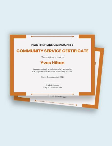 Free Community Service Certificate Template