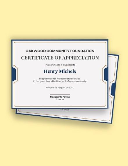 service certificate of appreciation Template