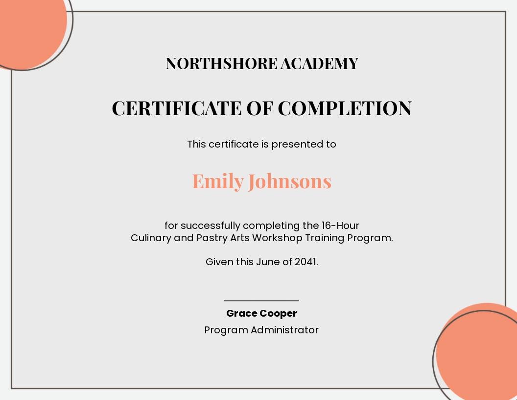 Workshop Training Certificate Template