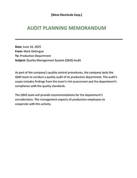 Audit Planning Memo