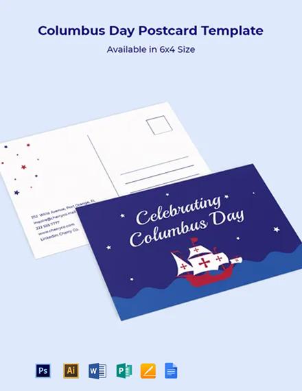 Columbus Day Postcard Template