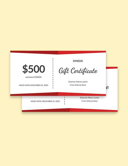 Customizable Restaurant Gift Certificate Template