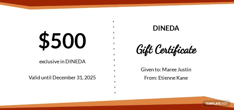 Restaurant Birthday Gift Certificate Template