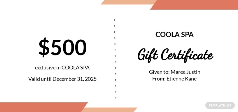 Spa & Beauty Center Gift Certificate Template