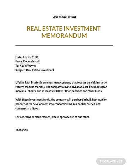 Real Estate Investment Memo Template