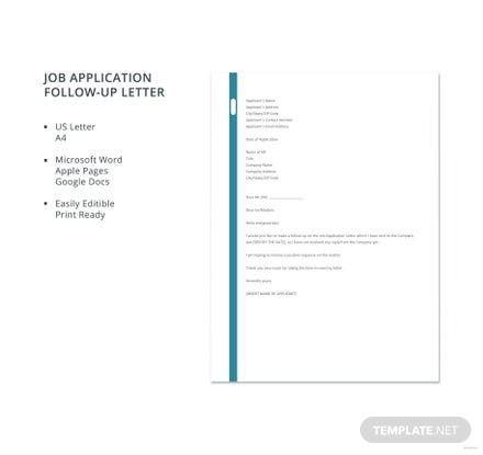 Free Job Application Follow-Up Letter Template