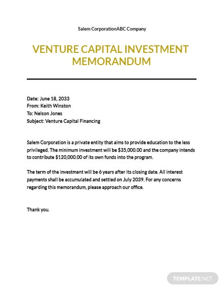 Venture Capital Investment Memo Template