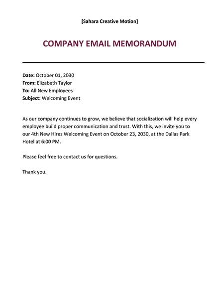 Email Memo Format