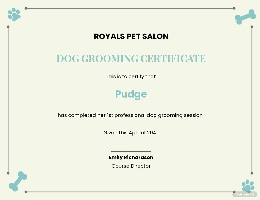 Certificate For Dog Grooming Template.jpe