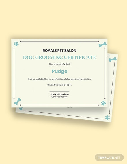 Certificate For Dog Grooming Template