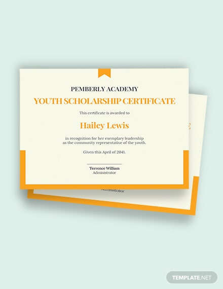 Free Youth Scholarship Certificate Template