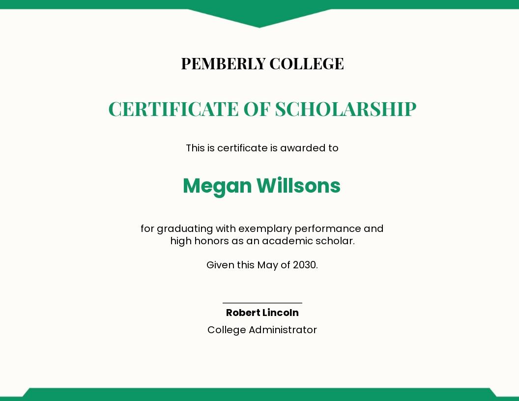 Graduation Scholarship Certificate Template
