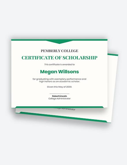 Free Graduation Scholarship Certificate Template