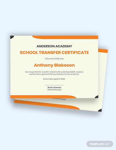 school student transfer certificate Template