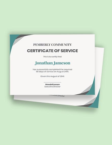 Service Certificate Template