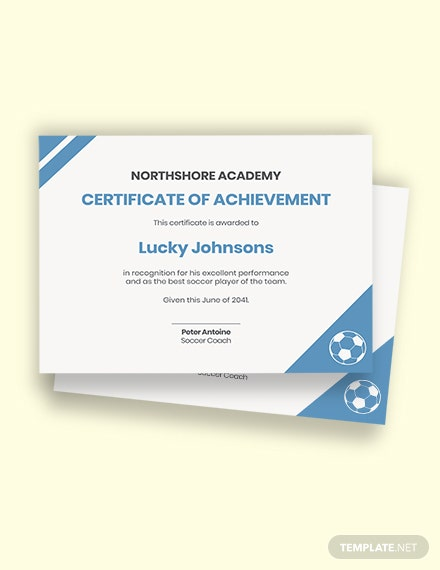 Kids Soccer Certificates Template
