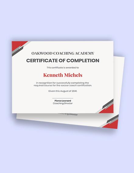 soccer coach certification Template