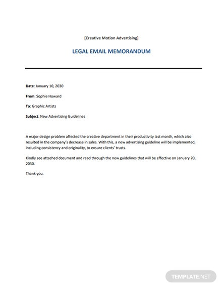 Legal Email Memo Template