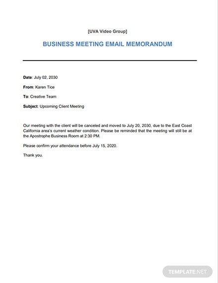 Business Email Memo