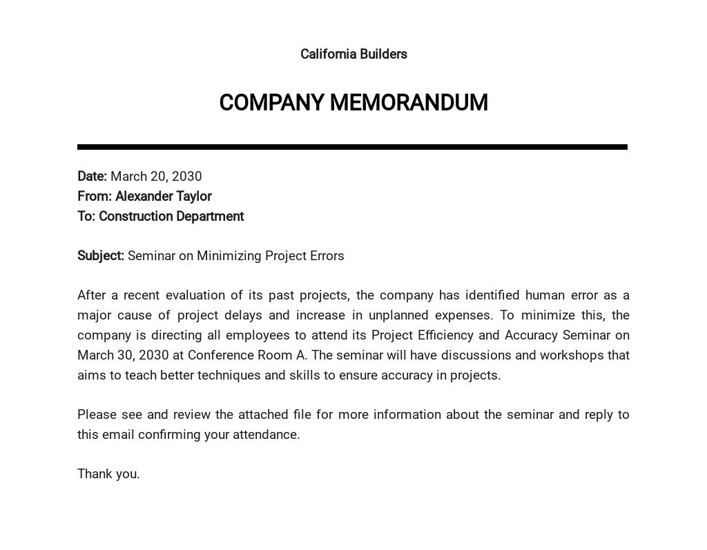 Company Email Memo