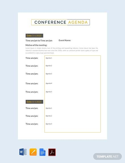 Free Conference Agenda Template