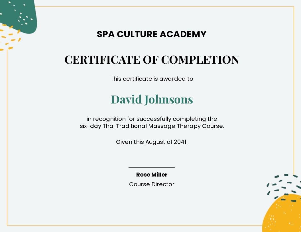 spa course certificate Template