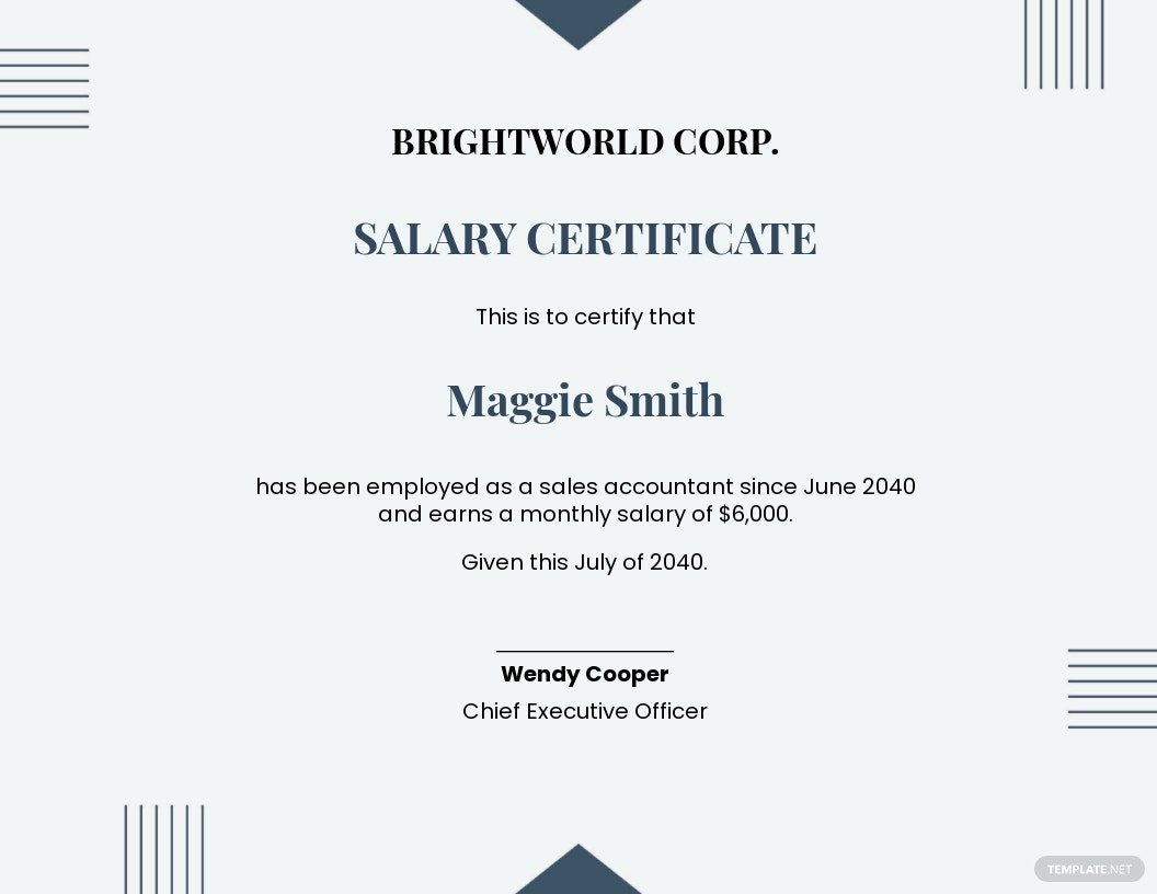 employment salary certificate Template