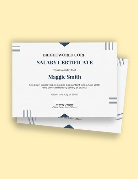 employment salary certificate Template