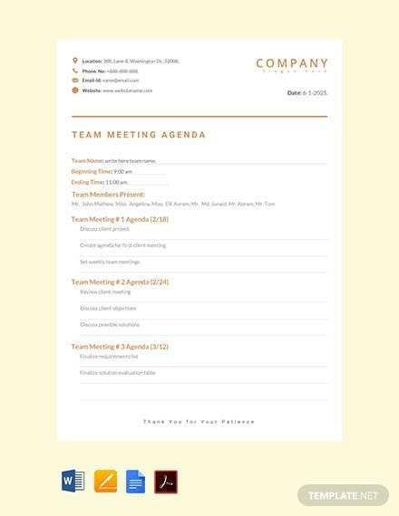 Free Team Meeting Agenda Template