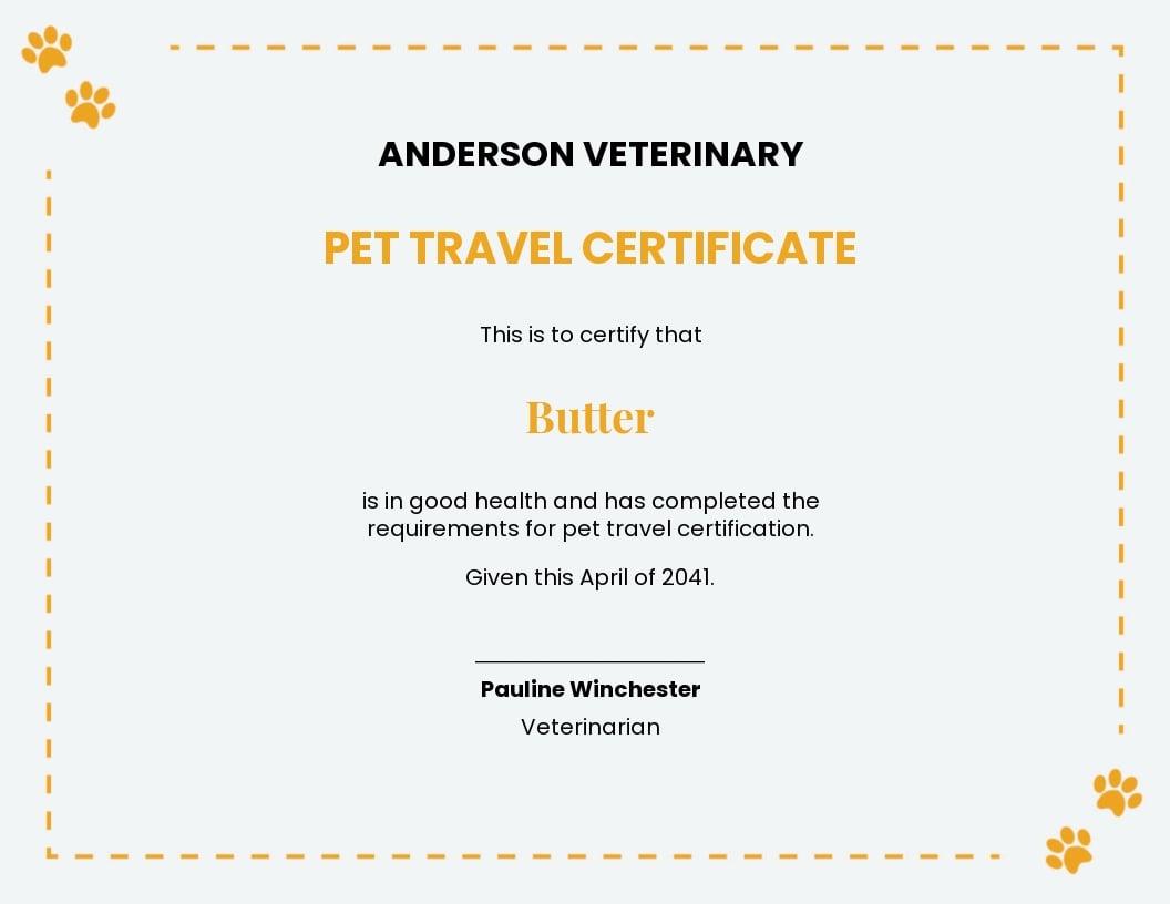 pet travel certificate Template.jpe
