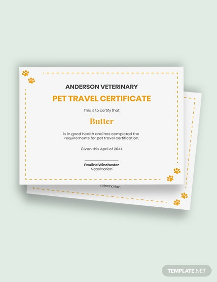 pet travel certificate Template