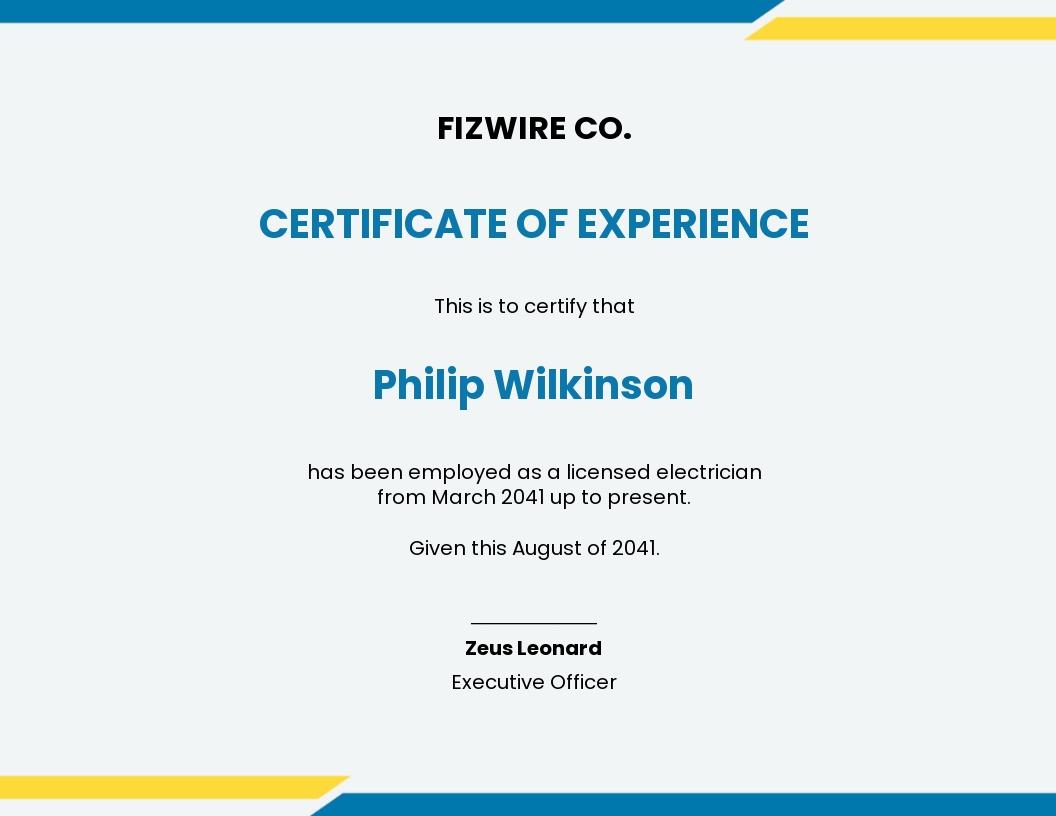 Electrician job experience certificate template.jpe