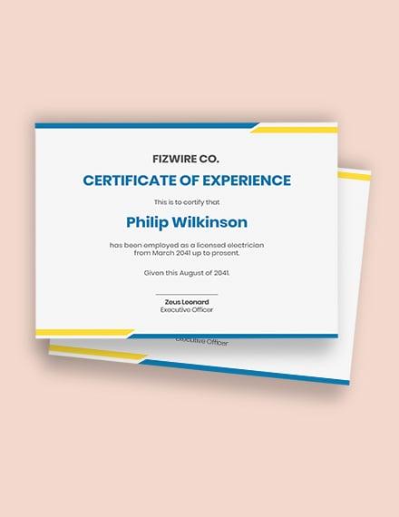 Electrician job experience certificate template