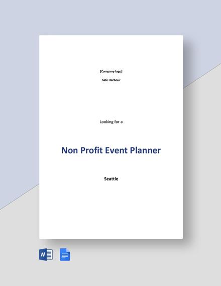 Non Profit Event Planner Job Ad and Description Template