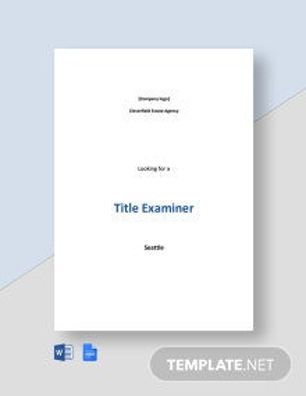 Title Examiner Job Ad and Description Template