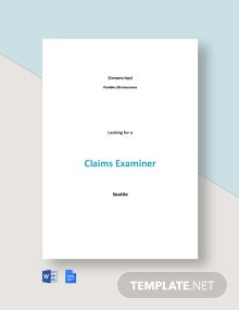Claims Examiner Job Ad and Description Template